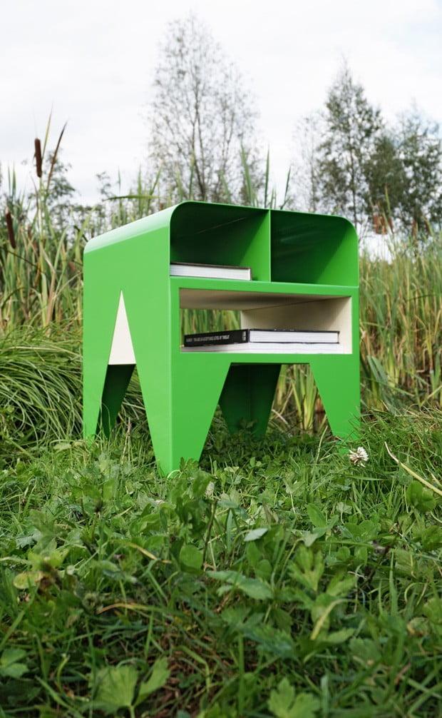 oeuvre artistique aluminium thermolaqué Nab Frog vert
