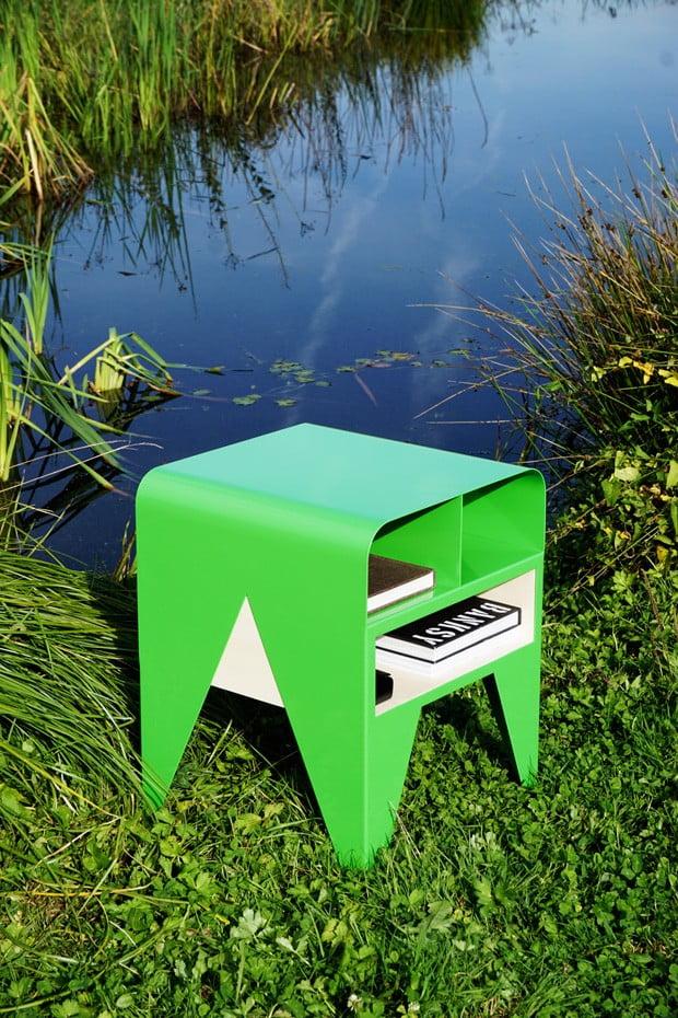 oeuvre artistique aluminium thermolaqué Nab Frog